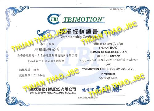 Chứng nhận đại lý phân phối chính hãng TBI motion